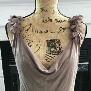 Tops - Taupe chiffon shoulder detail tank top